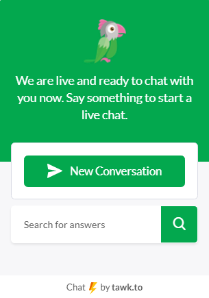Chat widget with button to start a chat