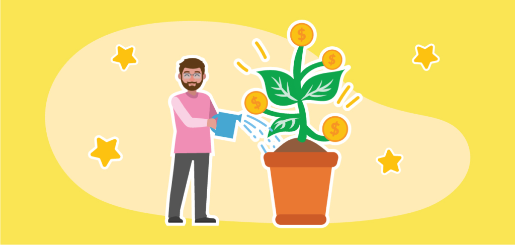 man watering plant representing business growth