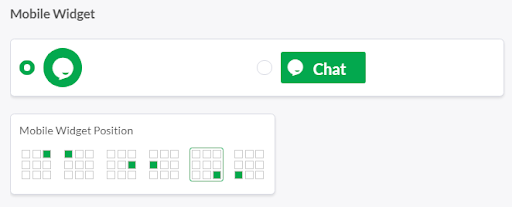 Grid with widget placement options on mobile